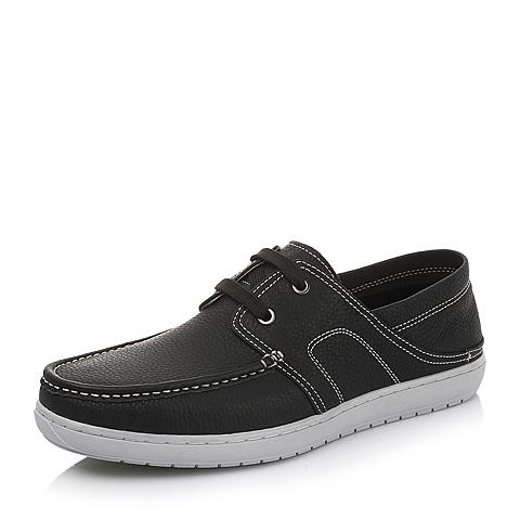 Teenmix/天美意夏季黑色牛皮男单鞋2XX25BM5