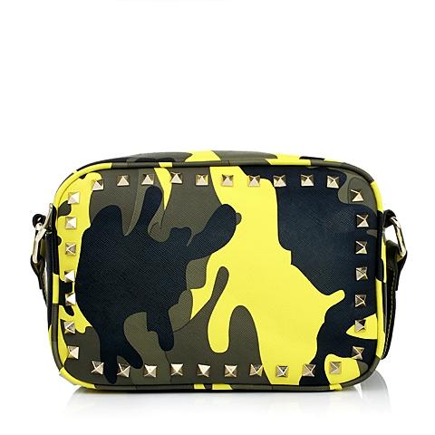 Teenmix/天美意夏季黄色人造革女包迷彩印花单肩包11152BX5