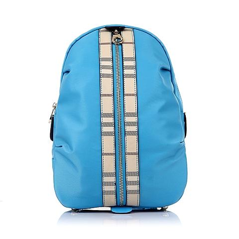Teenmix/天美意夏季蓝色化纤布/印花格纹人造革女包26511BX5