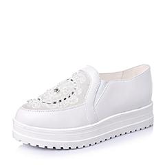 Teenmix/天美意春季专柜同款白色绵羊皮女单鞋6RV46AM5