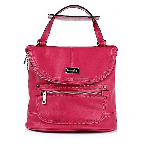 teenmix/天美意红色修面纹人造革女士双肩背包0999ACX5