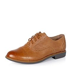 Teenmix/天美意秋季专柜同款棕擦色牛皮革女单鞋6RY21CM5