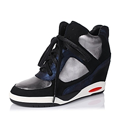 【APP专享】Teenmix/天美意秋季专柜同款黑/银灰/深兰女单鞋6WI27CM5