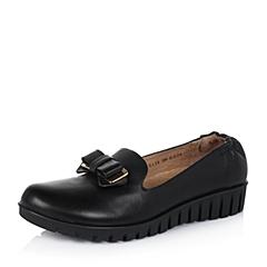 Teenmix/天美意秋季专柜同款黑牛皮革女单鞋6ZS23CM5