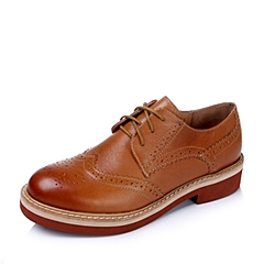 Teenmix/天美意秋季专柜同款棕-擦色牛皮革女单鞋6ZN20CM5