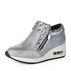 Teenmix/天美意秋季专柜同款银色羊皮女单鞋6UA22CM5