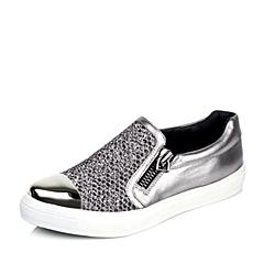 Teenmix/天美意秋季专柜同款银灰色羊皮/织物女单鞋6SD21CM5