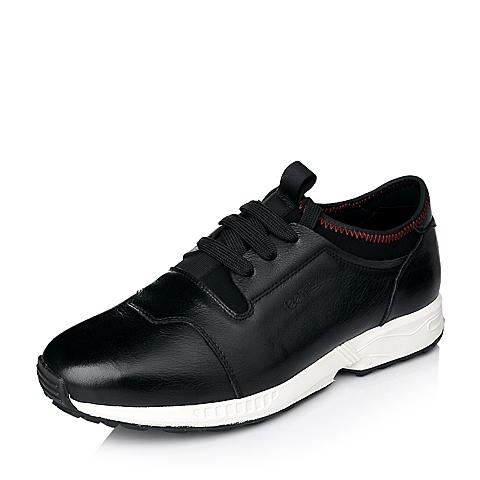 Teenmix/天美意秋季黑色时尚舒适牛皮男休闲鞋A602DCM5