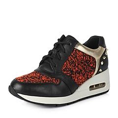 Teenmix/天美意秋季专柜同款红黑色牛皮女单鞋6UA20CM5