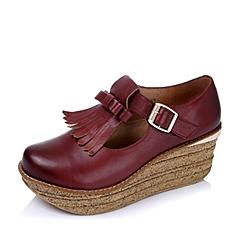 Teenmix/天美意秋季专柜同款红色牛皮女单鞋6YF21CM5