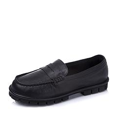 Teenmix/天美意秋季专柜同款黑色牛皮女单鞋AK92DCQ5