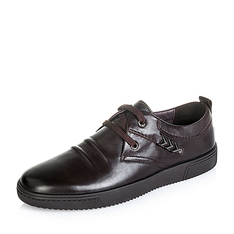 Teenmix/天美意秋季专柜同款咖啡色牛皮男单鞋AEF13CM5