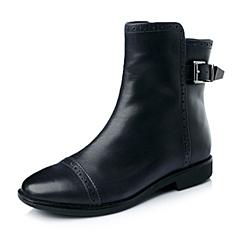 Teenmix/天美意冬季深兰牛皮女靴6D461DZ5