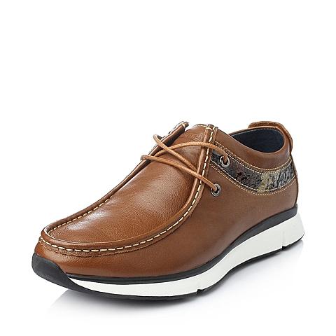 Teenmix/天美意冬季棕色牛皮男单鞋15231DM5