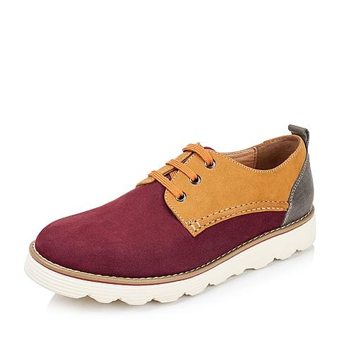 Teenmix/天美意秋季专柜同款红色牛皮男单鞋AFV02CM5