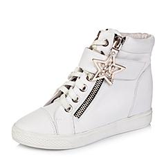 Teenmix/天美意冬季专柜同款白色牛皮革女皮靴6QJ41CD5