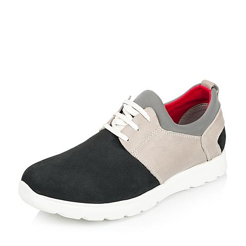 Teenmix/天美意秋季专柜同款蓝色牛皮/织物男休闲鞋1RS01CM5