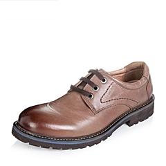 【APP专享】Teenmix/天美意冬季专柜同款棕色油蜡牛皮男单鞋AUB01DM5