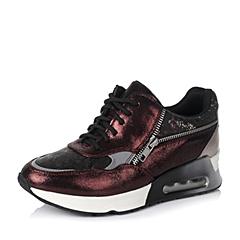 Teenmix/天美意秋季专柜同款酒红/啡黑/灰色山女单鞋6ZJ20CM5