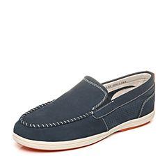 Teenmix/天美意夏季专柜同款深兰色简约休闲牛皮男单鞋62L02BM5