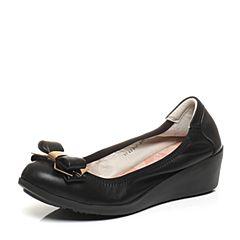 Teenmix/天美意春季专柜同款黑色绵羊皮女鞋6F105AQ6