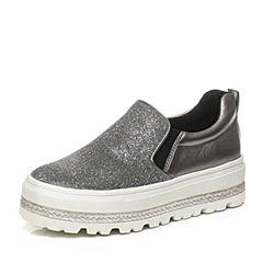 Teenmix/天美意专柜同款春灰布时尚舒适厚底平跟女单鞋6I820AM6