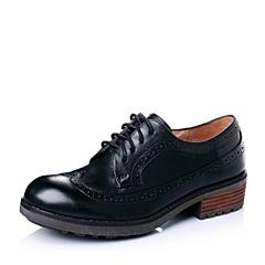 Teenmix/天美意春专柜同款黑色牛皮简约舒适女单鞋6JH24AM6