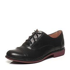 Teenmix/天美意春专柜同款黑色牛皮时尚复古女单鞋6RY24AM6