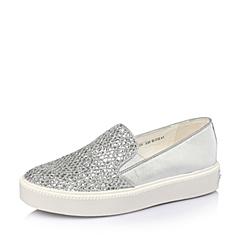 Teenmix/天美意春季专柜同款银色亮片布女鞋WG26DAM6