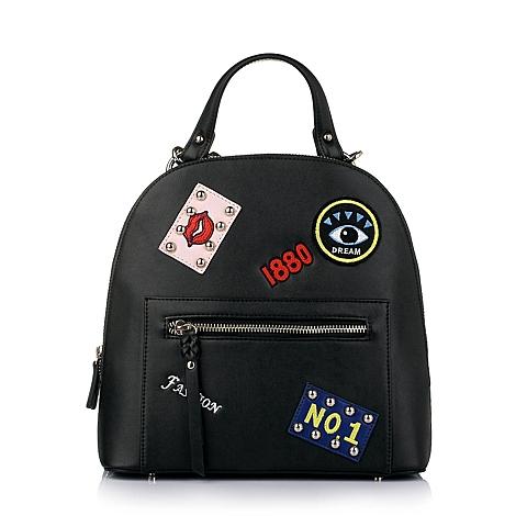 Teenmix/天美意黑色人造革休闲潮酷双肩包1021LAX6