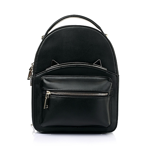Teenmix/天美意黑色细纹人造革时尚活力双肩包11547AX6