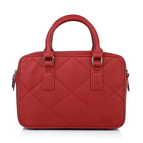 Teenmix/天美意2016春季红色十字纹人造革手袋11541AX6