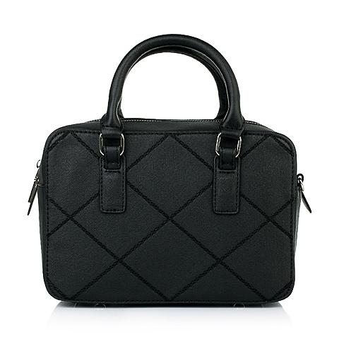 Teenmix/天美意春季黑色十字纹人造革手袋11541AX6