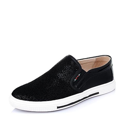 Teenmix/天美意春季黑色时尚舒适二层牛皮革男休闲鞋15416AM6