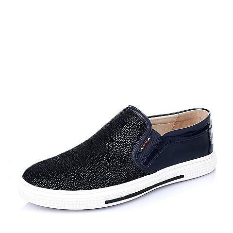 Teenmix/天美意春季蓝色时尚舒适二层牛皮革男休闲鞋15416AM6