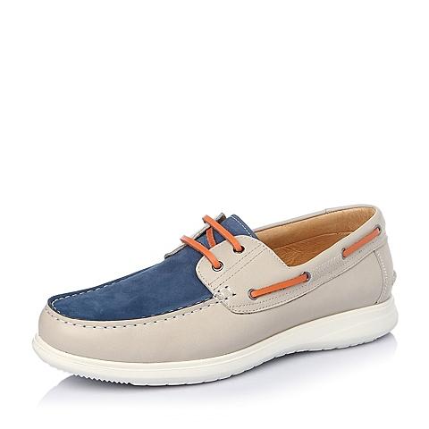Teenmix/天美意春季米白/蓝色牛皮男单鞋B5239AM6