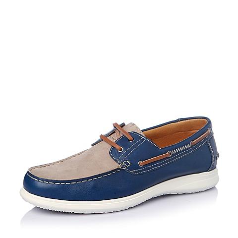 Teenmix/天美意春季蓝/米白色牛皮男单鞋B5239AM6