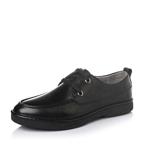 Teenmix/天美意春季黑色时尚商务休闲牛皮男单鞋2A698AM6