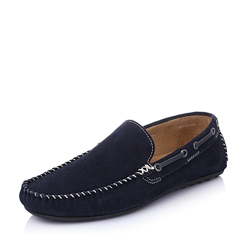 Teenmix/天美意春季蓝色时尚舒适二层牛皮革男休闲鞋BPC50AM6