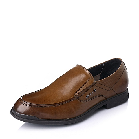 Teenmix/天美意春季棕色时尚商务休闲打蜡牛皮男单鞋C5507AM6