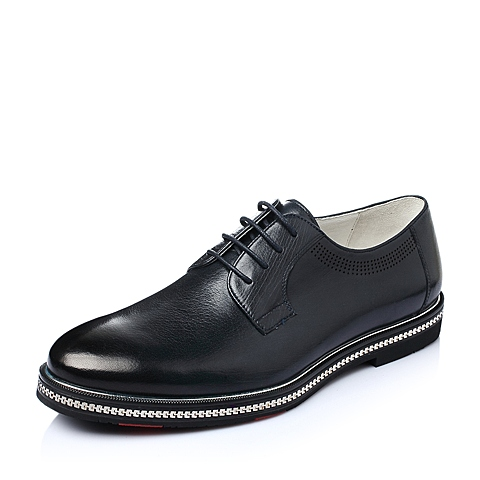 Teenmix/天美意2016春季蓝色牛皮商务正装男单鞋J1380AM6