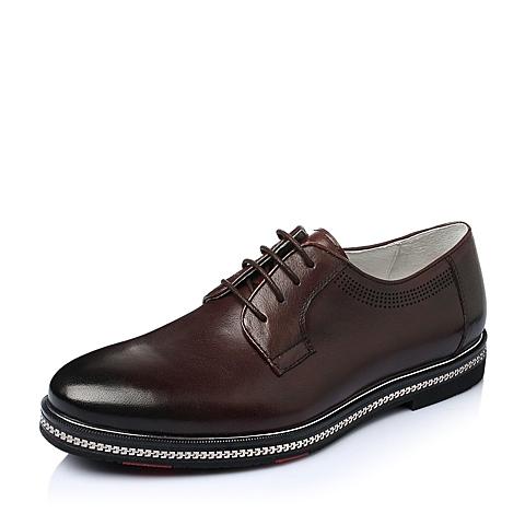 Teenmix/天美意春季棕色牛皮商务正装男单鞋J1380AM6