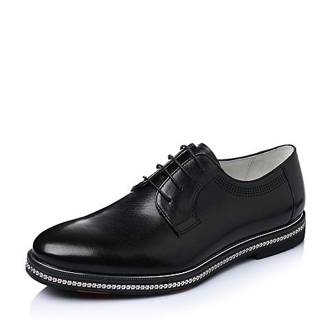 Teenmix/天美意春季黑色牛皮商务正装男单鞋J1380AM6