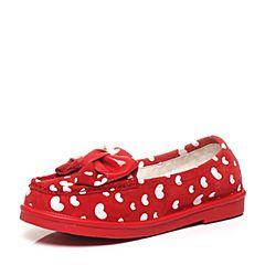 Teenmix/天美意春季专柜同款红色/白羊绒皮革/漆皮牛皮浅口女单鞋AM231AQ6