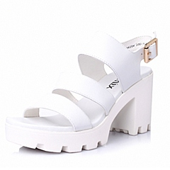 Teenmix/天美意夏季专柜同款白-牛皮革女皮凉鞋6K204BL6