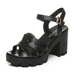 Teenmix/天美意夏专柜同款黑-牛皮革女皮凉鞋6K205BL6