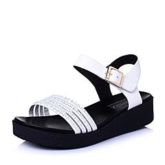 Teenmix/天美意夏季专柜同款白-牛皮革女皮凉鞋6ZA09BL6
