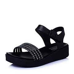 Teenmix/天美意夏季专柜同款黑-牛皮革女皮凉鞋6ZA09BL6