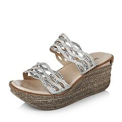 Teenmix/天美意夏季专柜同款灰色亮片布女鞋6YF18BT6