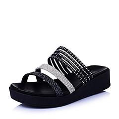 Teenmix/天美意夏专柜同款黑/白布女鞋6ZA13BT6